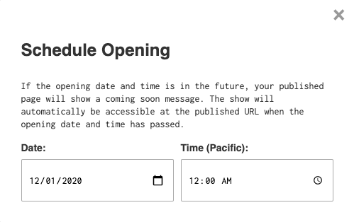 Schedule opening tool in the editor